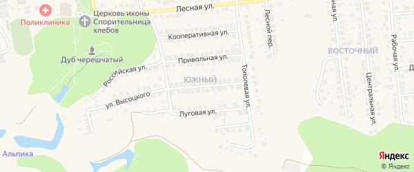 Народная улица на карте поселка Дубового с номерами домов