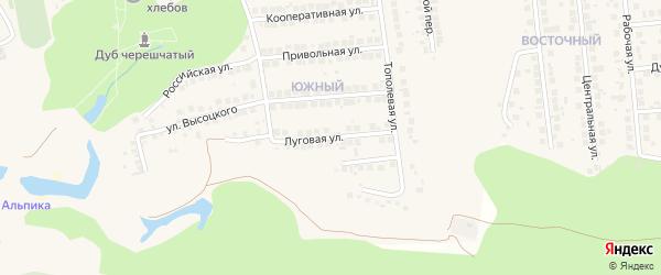 Луговая улица на карте поселка Дубового с номерами домов