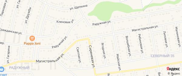 Магистральная улица на карте Северного поселка с номерами домов