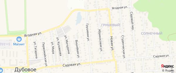 Грушевая улица на карте поселка Дубового с номерами домов