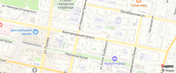 Белгородский проспект на карте Белгорода с номерами домов