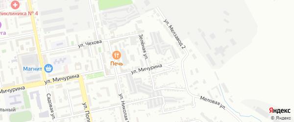 Зеленая улица на карте Белгорода с номерами домов