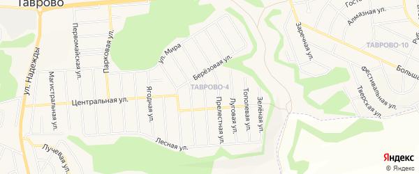 Карта Таврово 4-й микрорайона в Белгородской области с улицами и номерами домов