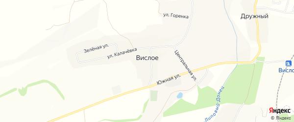 Карта Вислого села в Белгородской области с улицами и номерами домов