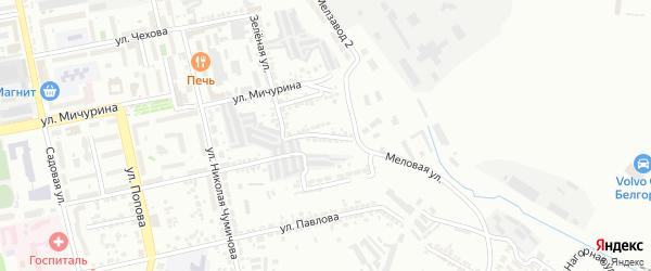 Зеленый 2-й переулок на карте Белгорода с номерами домов