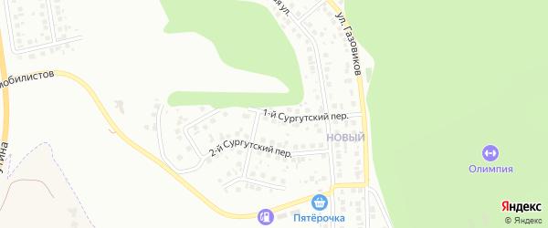 Сургутский 1-й переулок на карте Белгорода с номерами домов