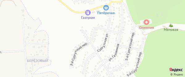 Сургутский 3-й переулок на карте Белгорода с номерами домов