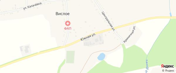 Южная улица на карте Вислого села с номерами домов