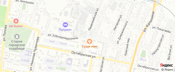 Первомайская улица на карте Белгорода с номерами домов
