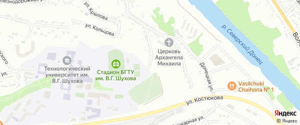 Донецкий 1-й переулок на карте Белгорода с номерами домов