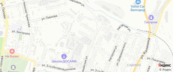 Первомайский 1-й переулок на карте Белгорода с номерами домов