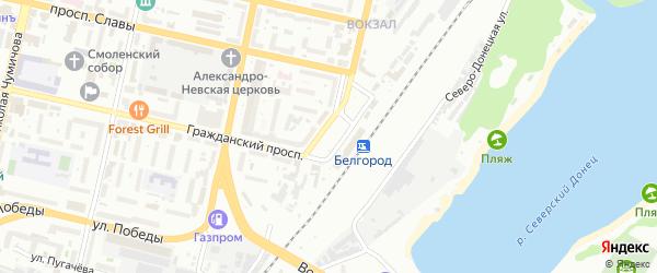 Вокзальная площадь на карте Белгорода с номерами домов