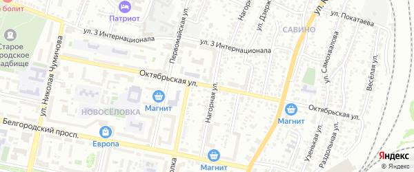 Октябрьская улица на карте Белгорода с номерами домов