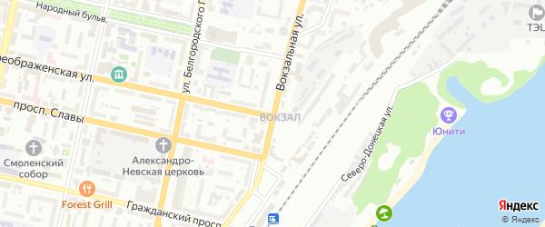 Вокзальная улица на карте Белгорода с номерами домов