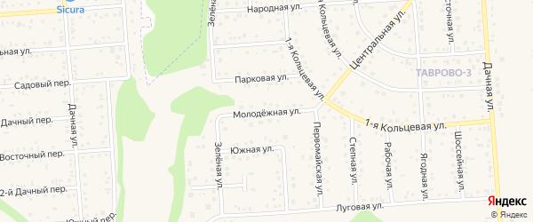 Молодежная улица на карте Таврово 3-й микрорайона с номерами домов