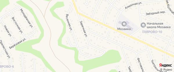 Заречная улица на карте Таврово 10-й микрорайона с номерами домов