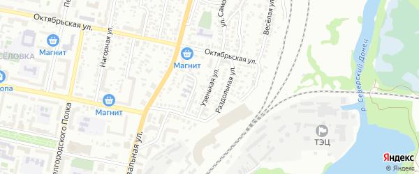 Узенькая улица на карте Белгорода с номерами домов