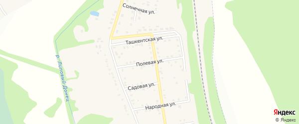 Полевая улица на карте хутора Красного Востока с номерами домов