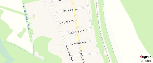Народная улица на карте хутора Красного Востока с номерами домов