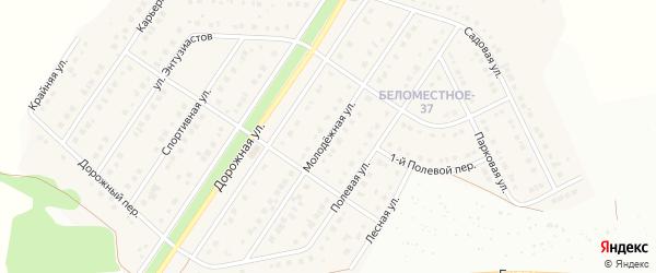 Молодежная улица на карте Беломестного села с номерами домов