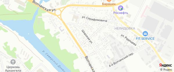 Широкая улица на карте Белгорода с номерами домов