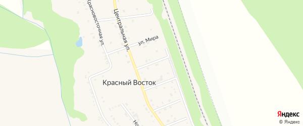 Центральный переулок на карте хутора Красного Востока с номерами домов