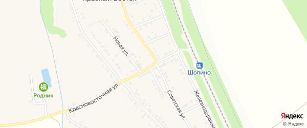 Красновосточная улица на карте хутора Красного Востока с номерами домов
