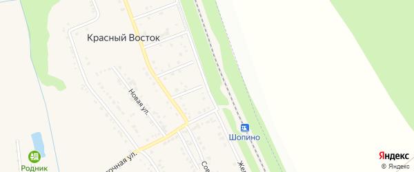 Железнодорожная улица на карте хутора Красного Востока с номерами домов