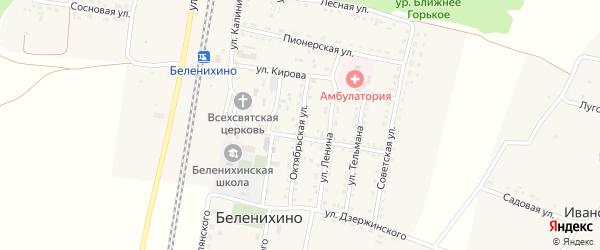 Октябрьская улица на карте села Беленихино с номерами домов