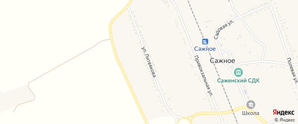 Улица Литвякова на карте поселка Сажного с номерами домов