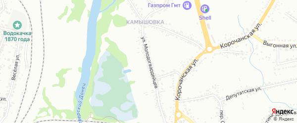 Улица Молодогвардейцев на карте Белгорода с номерами домов