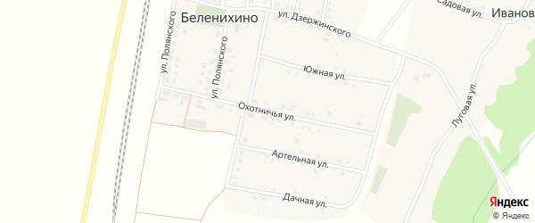 Охотничья улица на карте села Беленихино с номерами домов