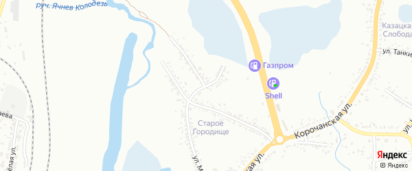 Молодогвардейцев 1-й переулок на карте Белгорода с номерами домов