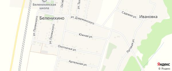 Южная улица на карте села Беленихино с номерами домов