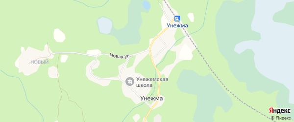 Карта поселка Унежмы в Архангельской области с улицами и номерами домов