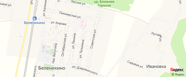 Советская улица на карте села Беленихино с номерами домов