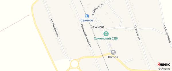 Привокзальная улица на карте поселка Сажного с номерами домов