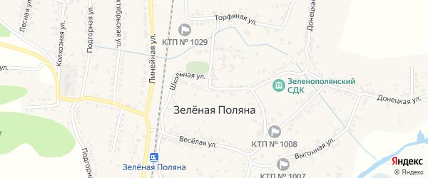 Школьная улица на карте села Зеленой Поляны с номерами домов