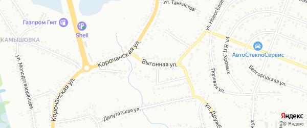 Выгонная улица на карте Белгорода с номерами домов