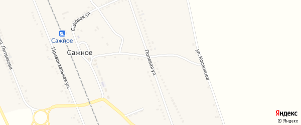 Полевая улица на карте поселка Сажного с номерами домов