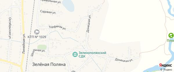 Донецкая улица на карте села Зеленой Поляны с номерами домов
