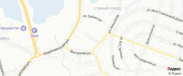 Переулок Танкистов на карте Белгорода с номерами домов