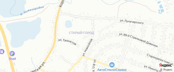 Переулок Луначарского на карте Белгорода с номерами домов