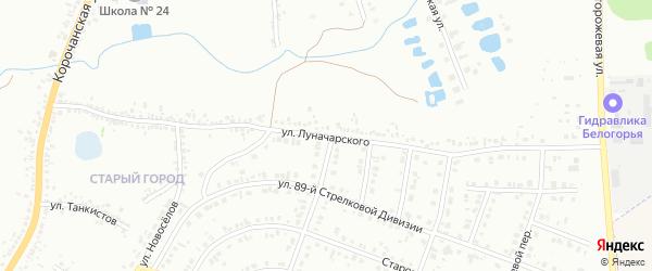 Улица Луначарского на карте Белгорода с номерами домов