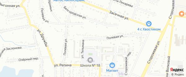 Полевая улица на карте Белгорода с номерами домов