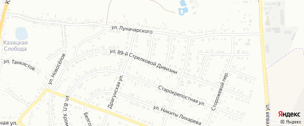 Улица 89 Стрелковой Дивизии на карте Белгорода с номерами домов