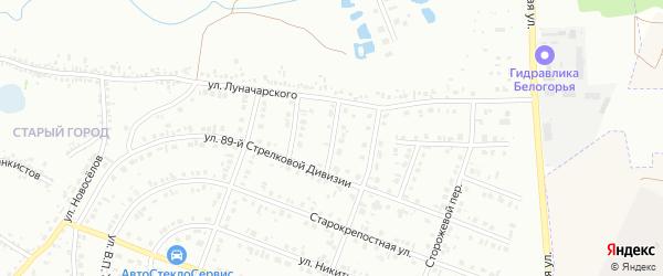 Порубежный 3-й переулок на карте Белгорода с номерами домов