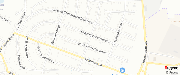 Малышевский 2-й переулок на карте Белгорода с номерами домов