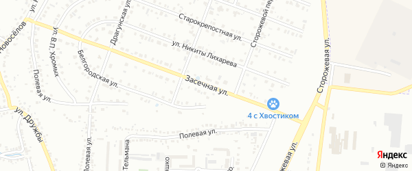 Засечная улица на карте Белгорода с номерами домов