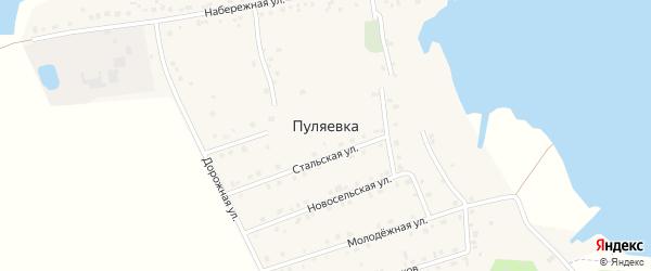 Дорожная улица на карте села Пуляевки с номерами домов